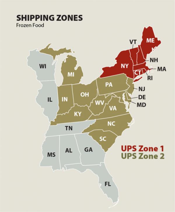 PCPF Shipping Zones